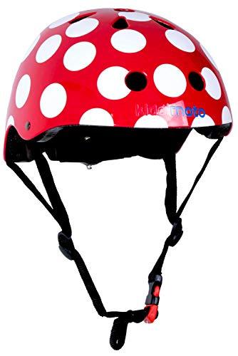 Kiddimoto Fahrrad Helm für Kinder / Fahrradhelm / Design Sport Helm für skates, roller, scooter, laufrad - Red Dotty / Rot Punkten