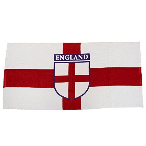 TRIXES England Strand-/Bade-Handtuch St. George Badge rot und weiß 100 {e3db5d58254b4447f731eeaec1f2b34eb3e537a909368f6a593589743dc00a1c} Baumwolle 70 x 140cm ideal für Sonne Strand und Pool
