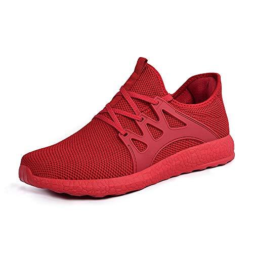 ZOCAVIA Herren Damen Sneaker Running Laufschuhe Sportschuhe rutschfeste Sneaker Rot 46 EU