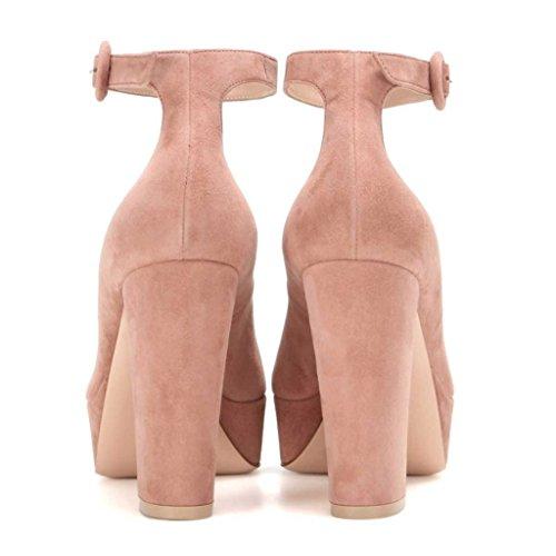 SHOFOO - Femmes - Stiletto - Cuir de daim synthétique - Semelle compensée 2 cm - Bride de cheville - Noir ou Rose ou Jaune - Talon épais - Bout rond fermé Rose