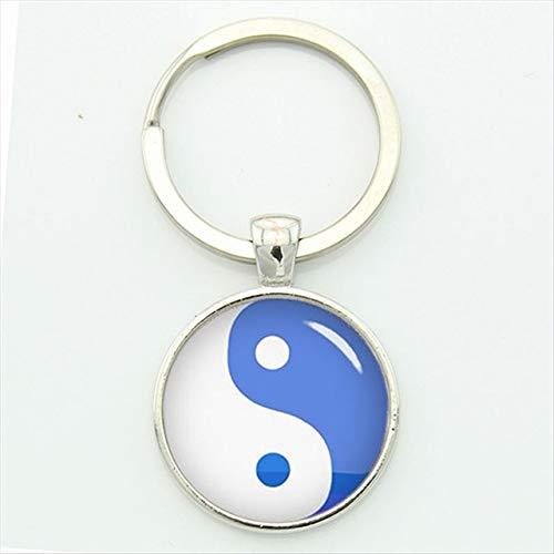 Fancychain Schlüsselanhänger Edelstahl Yin und Yang Buddha Buddhismus Retro Gegensätze Blau