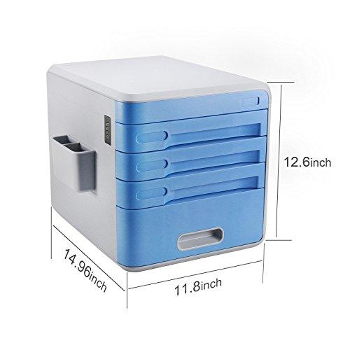 Escritorio de cajones  cajones sin ruedas  cajones de plástico con 4 cajones  Azul / Naranja / Cyan Cómoda de 4 cajones  Armedietto sin ruedas  armario de plástico  cajón de almacenamiento (Azul)