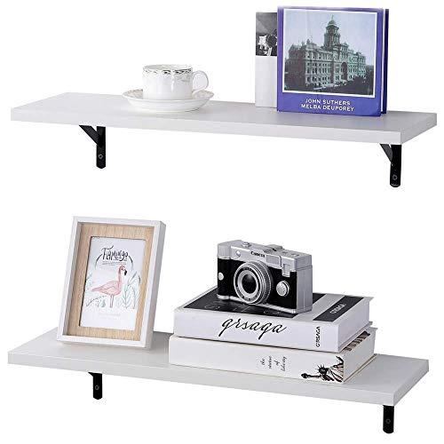 SUPERJARE wand befestigte schwimm regale, 2er-set, display sims, storage rack für zimmer / küche / büro 2 tier weiß -
