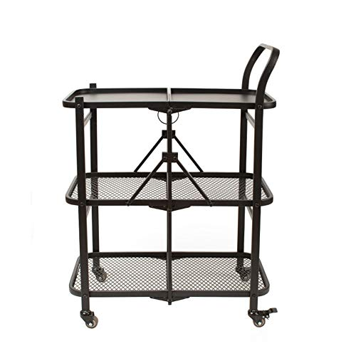 COOCAQI+Trolley Faltbarer Servierwagen, 3-stufiger Home Iron Küchen-Aufbewahrungswagen, Weinwagen, Rollwagen-Organizer-Gestell für Badezimmer-Schlafzimmer