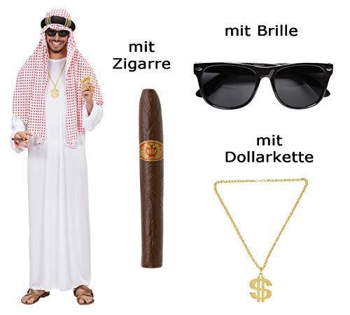 Kostüm Arabischer Scheich Größe M-L - Araber mit Brille, Zigarre, ()