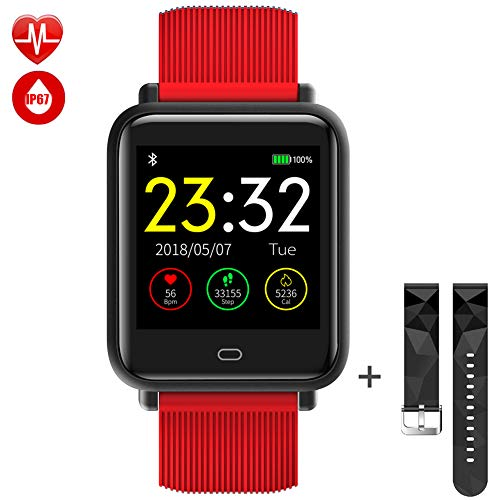TagoBee TB08 IP67 Orologio Intelligente Smartwatch HD Schermo colorato Fitness Tracker Monitoraggio della Pressione sanguigna Pedometro Notifiche Remind Compatibile con Android e Altri sistemi(Red)