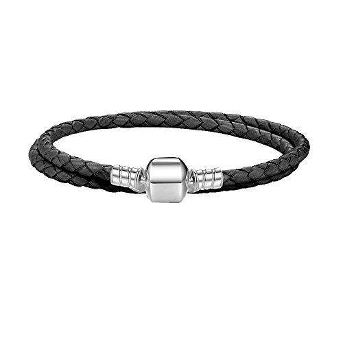Passen Pandora Armband schwarzes Leder doppelt gewebt 925 Sterling Silber für Frauen (Schwarz-leder-armband-charme)
