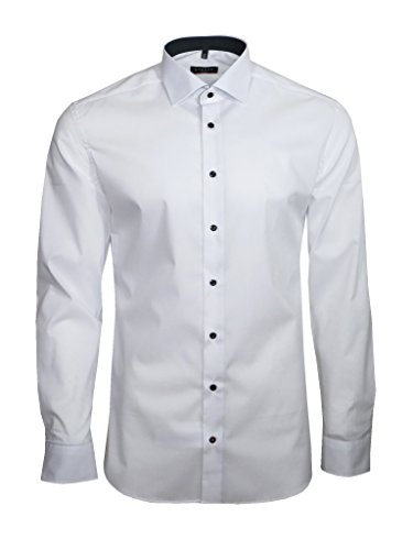 eterna Langarm Hemd Slim FIT Stretch Unifarben,W39 Langarm,Weiß