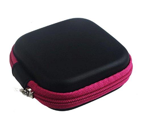 Hot Pink Hard Case (Rcool Hot Pink Zipper Storage Bag Carrying Case for Hard Keep Earphones Carrying Storage Bag)