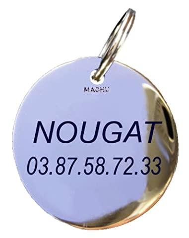 Machu - Médaille Mini 1,8 cm pour CHIEN MINI OU CHAT - laiton chromé - Gravure profonde et soignée incluse dans le
