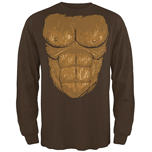 Bigfoot Kostüm Herren Long Sleeve T-Shirt braun X-LG (Sasquatch Halloween-kostüm)