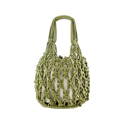 troh gewebt Tasche Beach Strohtasche Outdoor Strandtasche Korbtasche Straw Bag Volltonfarbe Handtasche Wild Hollow Strandtasche ()