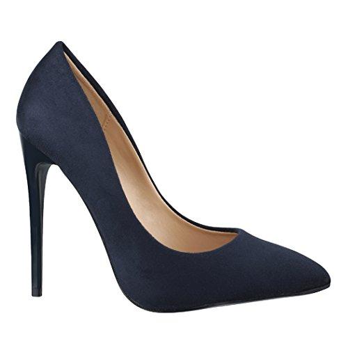 Elara Damen Pumps Spitz | Moderne High Heels | Bequeme Stilettos | Chunkyrayan B-10 Blue-39