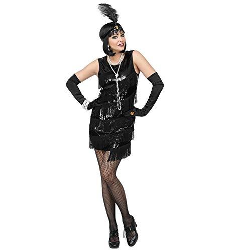 Für Girl Kids Flapper Kostüm - shoperama 20er Jahre Charleston Flapper Damen-Kostüm Pailletten Fransen-Kleid Schwarz kurz 20's Gatsby Girl, Größe:XL
