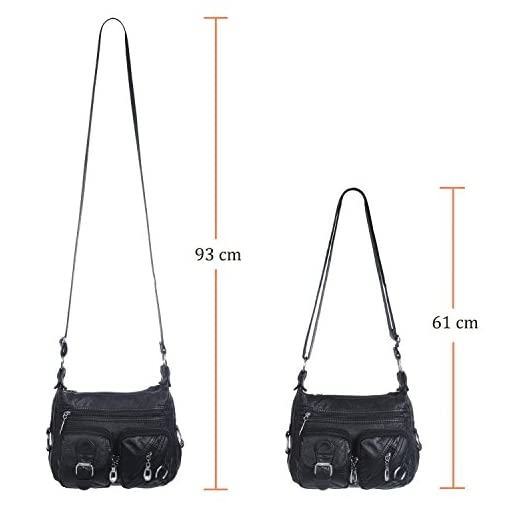 Hengying Washed Leather Shoulder Handbag Cross Body Bag with Lots of Pockets for Women Ladies