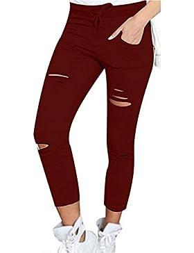 Zojuyozio Mujeres Verano Casual Pantalones Al Tobillo Sólido Arrancó Apretado Trouses Plus Size