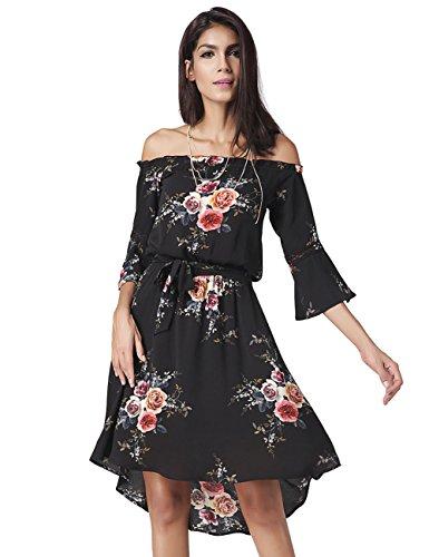 Frauen sexy Wort Schulter Kleid , black , xxl (Denim Einreiher Kragen)