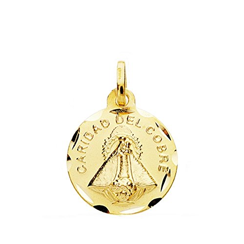 Medalla Oro 18K Virgen Caridad Del Cobre 16mm Cerco Tallado. [Ab3818]
