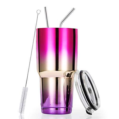 Tumbler (Kyrieval 900ml Tumbler Thermosflasche Reisebecher Doppelvakuumflasche aus Edelstahl für Reisen, Arbeit, Fitness, kann heißes und kaltes Getränk speichern (Pink&Silber))