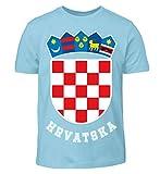 Hochwertiges Kinder T-Shirt - Kroatisches Wappen Hrvatska T-Shirt Kroatien Trikot Geschenk