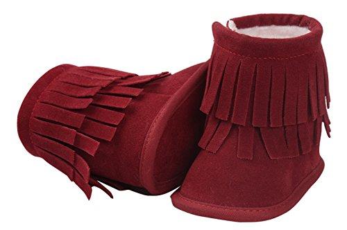 EOZY Bébé Garçon Fille Chaussons Toddler Neige Bottes Chaussures Premiers Pas Chaud Hiver Rouge