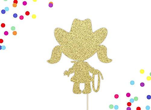 Cowgirl Birthday Cake Topper | Cowgirl Birthday Party | Country Western Party Decor | Cowgirl Party Theme | Glitter Gold Cowgirl Cake Topper (Topper Tree Western)