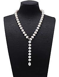 jyx 9–10mm blanco agua dulce cultivadas collar de perlas con longitud ajustable