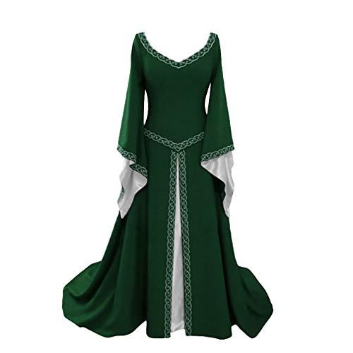 Erwachsene Asiatische Für Kostüm Prinzessin - Damen Mittelalter Langarm Kleid - Retro Renaissance Viktorianisch Kostüm Langes Kleider mit Ausgestellte Ärmel Mittelalterkleid Prinzessin Kostüm für Halloween Party Cosplay