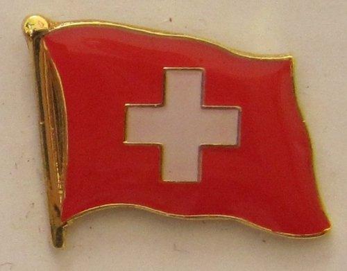 Buddel-Bini Versand Pin Anstecker Flagge Fahne Schweiz Nationalflagge Flaggenpin Badge Button Flaggen Clip Anstecknadel
