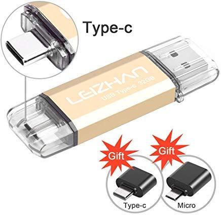 leizhan Type-C Photo Stick 256 GB 128 GB 64 GB 32 GB USB 3.0 Thumb Drive für Samsung Galaxy S9, S9 Plus, Note 9, S8, S8 Plus/Xiaomi 6/OnePlus 3/Pixel XL/Nexus 5X/LG G5 G6/HTC 10/Huawei Mate 9,P20 32GB -