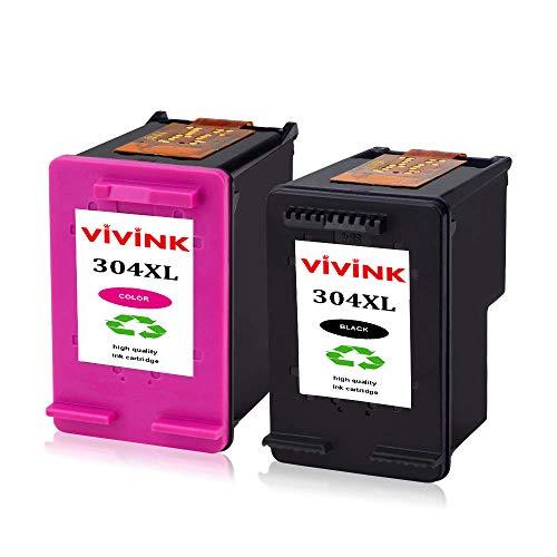 Vivink - Cartucce d'inchiostro rigenerate ad alta resa per HP 304 304XL per HP Deskjet 3720 3730 3735 2620 2630 3732, HP Envy 5020 5030 (1 nero + 1 tricolore)