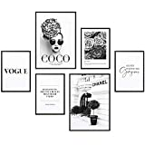 Heimlich® Tableau Décoration Murale - Set de Poster Premium pour la Maison, Bureau, Salon, Chambre, Cuisine - 2 x A3 (30x42cm) et 4 x A4 (21x30cm) | sans Cadres » Coco en Noir Et Blanc «...