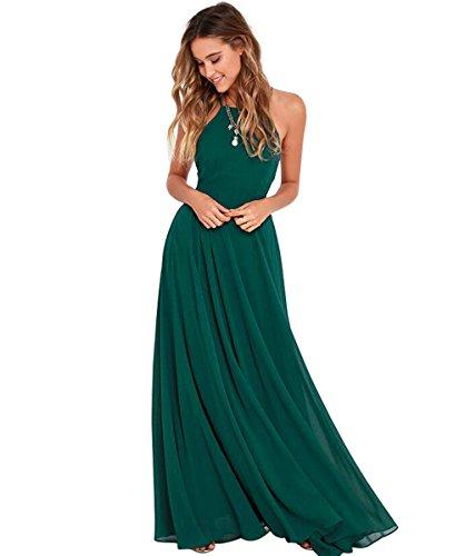 Damen Grün Halter A-Linie Chiffon Abendkleid Elegantes Langes Rueckenfrei Kleid Brautjungfernkleider