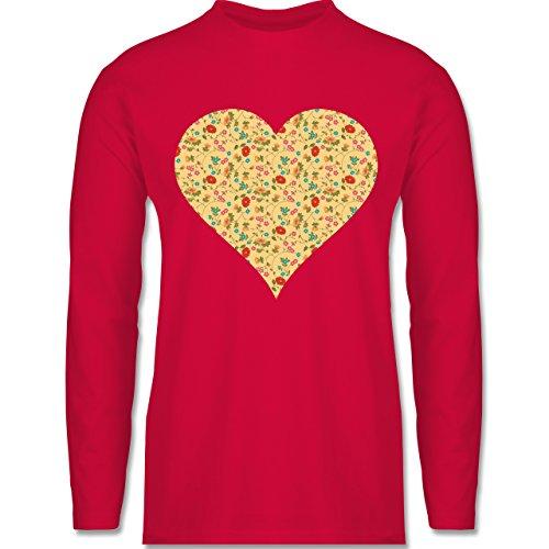 Vintage - Herz Blumen - Longsleeve / langärmeliges T-Shirt für Herren Rot