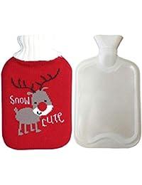 Augneveres Botella de Agua Caliente con Funda para Botellas de Agua Caliente de Navidad con Fundas