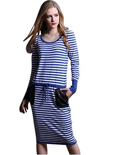 Molly Donna Casuali Striped Lungo Maglione Maglia Vestito Free Size Blu
