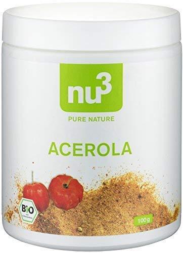 nu3 BIO Acerola Pulver,100 g – Das Vitamin-C Wunder aus Süd- und Mittelamerika; Acerolapulver ist der Kraftstoff für Ihr Immunsystem mit der täglichen Portion Vitamin-C