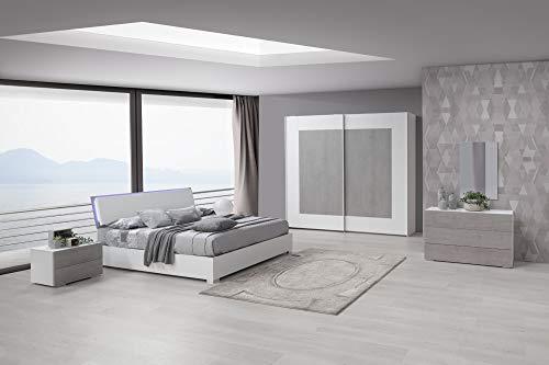 Kasama camera materia in bianco frassinato e inserti cemento