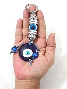 Grand Pendentif Amulette Décoration Murale (DECO MUR) en Verre Bleu contre le Mauvais Oeil / Sort - et pour la Bonne Chance, Succès et Protection pour votre Maison