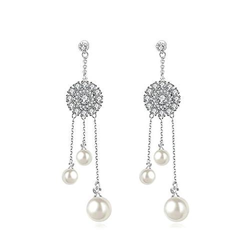 Epinki Versilbert Damen Ohrringe Ohrstecker Drei Beads Baumeln Weiß Gold 1.7x6 CM (Bead Tropfen Baumeln Ohrringe)
