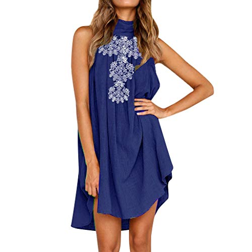 (KIMODO Womens Dress Holiday Casual Irregular Ladies Summer Beach Sundress Sleeveless Halter Neck Floral Print Party Dress)