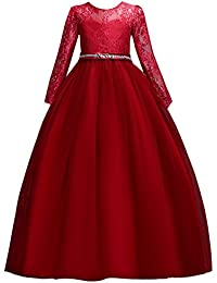 Vestido de niña de Flores para la Boda Princesa Largo Manga Vestidos de Dama De Honor Fiesta Tul Comunión Cumpleaños Bola Pageant…