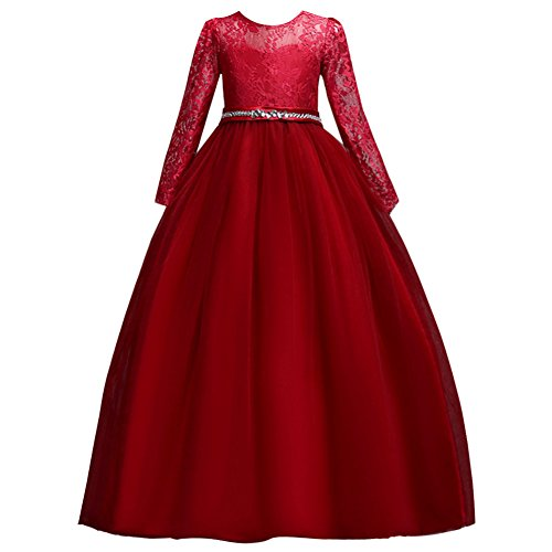 Mädchen Kinder Mit Kleider Lange Ärmel Blumenmädchenkleider Hochzeitskleid Brautjungfern Kleid...