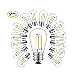 BRTLX S14 E27 LED Glühbirne E27 Edison Filament Lampe 2W Ersetzt 20Watt 200 LM 2700K Warmweiß Glühfaden Birnen 15per Pack Nicht Dimmbar[Energieklasse A+]