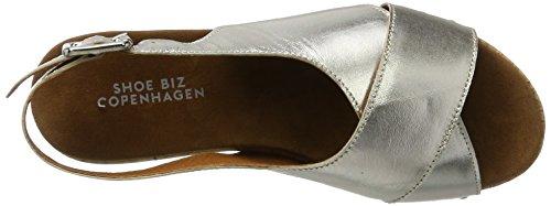Shoe Biz Damen Sandal Platau Plateau Silber (velvet Silver)