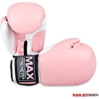 MAXSTRENGTH Pink Boxing, Gloves 6oz, 8oz,12oz, 14oz, 16oz Sparring Training Ladies Kickboxing Punch Bag Mitts Muay Thai Rex Leather Equipments.