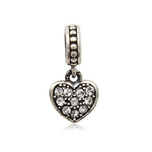 Andante-stones argento massiccio sterling 925 perlina pavé charm pendenti