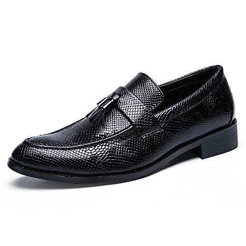 TONGDAUR Herren Business Oxford Casual Anzug Fuß Schlangenleder Fringe Point Formale Schuhe Abendschuhe Lederschuhe für Herren (Color : Schwarz, Größe : 43 EU) -