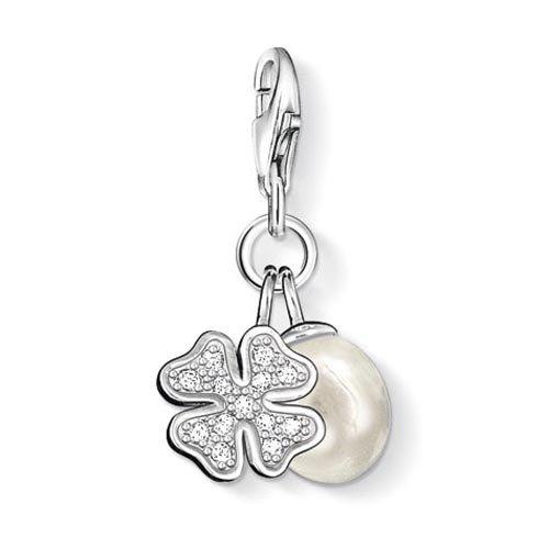 Lucky Charm-armband Charms (Thomas Sabo Damen-Charm-Anhänger Kleeblatt Perle Charm Club 925 Sterling Silber weiß Süßwasserzuchtperle 0831-167-14)