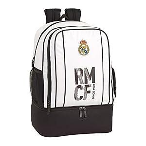 41iOYgMG9cL. SS300  - Real Madrid CF Bolsa de Deporte, Mochila con zapatillero Equipaje para niños, Blanco, 50 cm